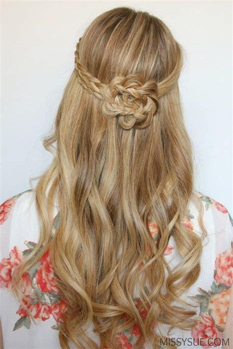 handouts on how to braid hair half up braided flower flat iron curls hair tutorials