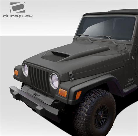 jeep body kits 97 06 jeep wrangler cv x duraflex body kit hood 109257