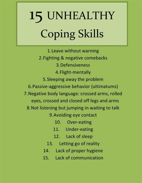 list of mechanisms 15 unhealthy coping skills part i coping skills