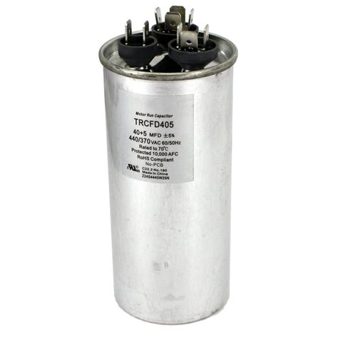 dual motor run capacitor mfd rating 35 5 packard 440 volt 40 5 mfd dual motor run capacitor trcfd405 the home depot