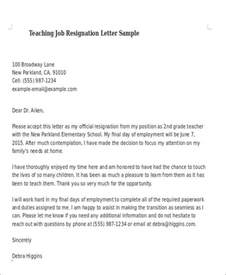 Exle Resignation Letter School Sle Teaching Resignation Letter 6 Exles In Pdf