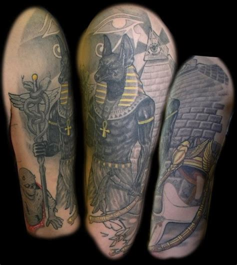 black gold tattoo black and gold anubis on half sleeve tattooshunt