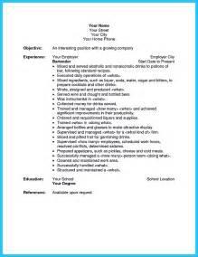 examples of bartender resume - Bartending Resume Example