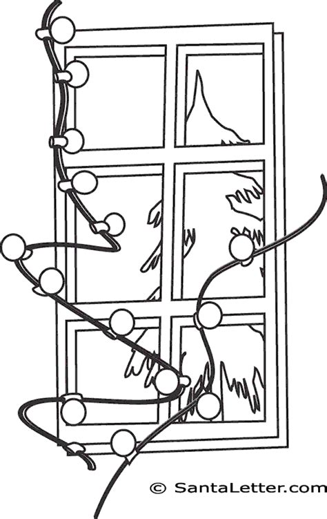 Christmas Lights Coloring Pages At Santaletter Com Tree Lights Coloring Page
