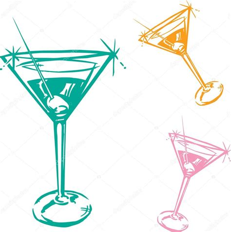 martini illustration cocktail glass illustration stock vector