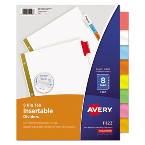 avery insertable big tab dividers 8 tab letter ave11123
