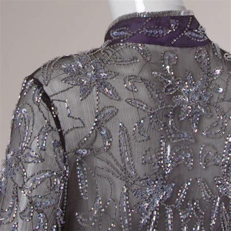 beaded kimono silk chiffon glass beaded kimono duster jacket or maxi