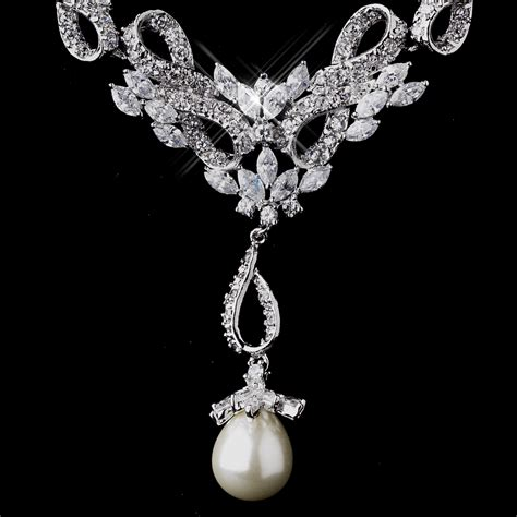 dazzling vintage cz pearl wedding necklace set
