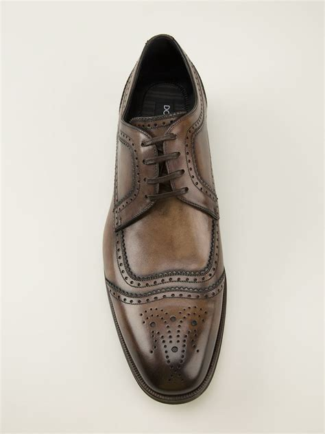 dolce and gabbana shoes mens dolce gabbana brogue detailed derby shoes in brown for