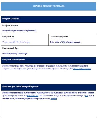 Change Request Template Word Template Free Download Change Request Template