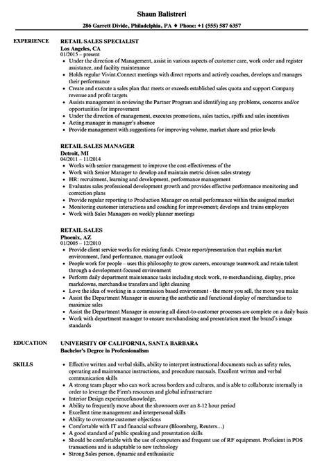 Retail Sales Merchandiser Sle Resume by Retail Sales Resume Sles Velvet