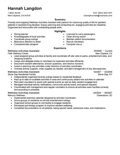 Resume Activities Exles Wellness Activities Assistant Resume Exles Wellness Resume Sles Livecareer