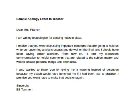 Apology Letter Sle For School Sle Apology Letter To 7 Free Documents In Pdf Word