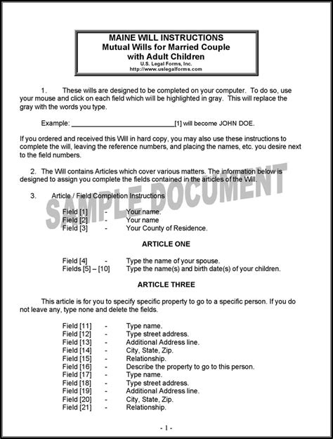 Maine Will Template Maine Last Will And Testament Form Download Free Premium Templates Forms Sles For Jpeg
