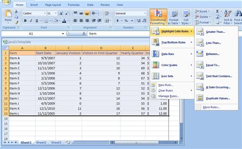 Format Microsoft Excel 2007 | conditional formatting format cell contents based on