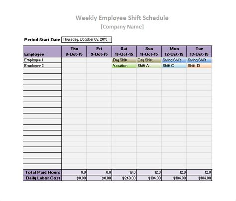 printable employee schedule template download work schedule templates 9 free word excel pdf format