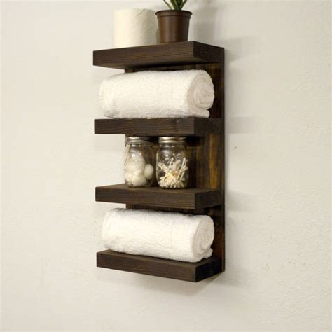 Bathroom Towel Shelves Bathroom Towel Rack 4 Tier Bath Storage Floating Shelf Hotel Style Walnut Home