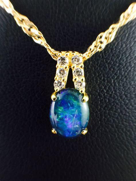 genuine opal triplet necklace pendant w cubic zirconias