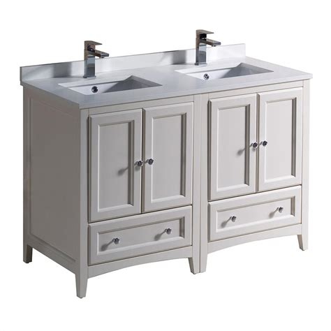 Fresca Oxford 48 In Double Vanity In Antique White With Bathroom Basins And Vanities