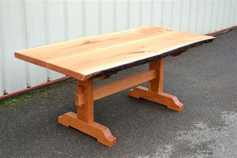 live edge cherry dining table live edge cherry dining table with trestle base corey