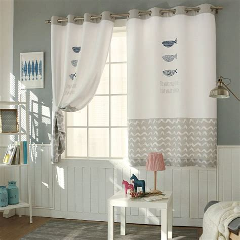 fish patterned fully lined blackout curtains eyelet