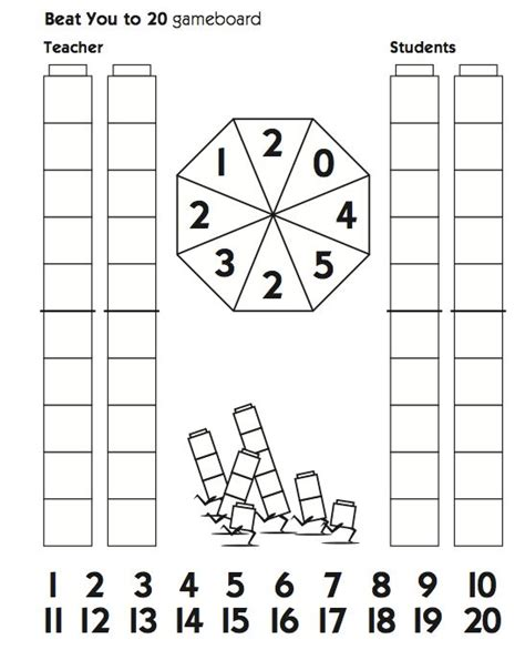 unifix pattern worksheet beat you to 20 gameboard with unifix cubes math