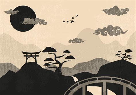 chinese clouds landscape illustration vector