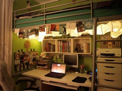 organize your college dorm room online with other roommates an organized desk work space with rope lighting for your