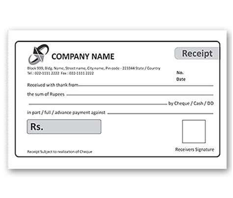 free digital receipt book template bill book design for office receipt offset or digital