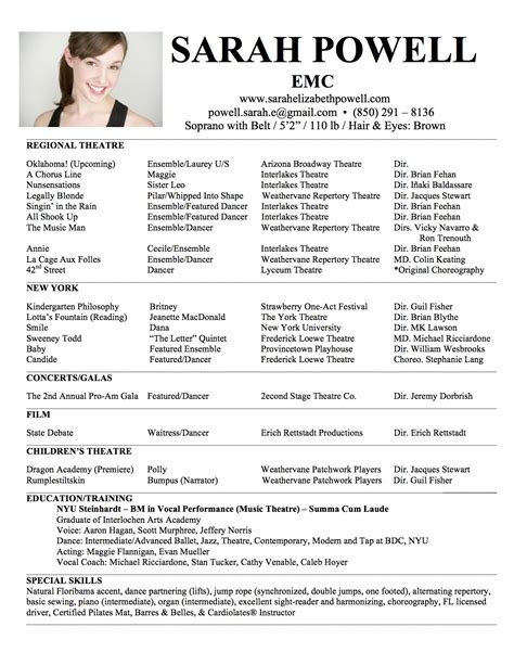 theatre resume templates headshot resume elizabeth powell