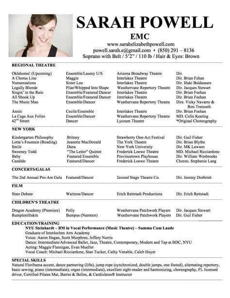 Acting Cv Sample Resume Template Singers Theatre Word