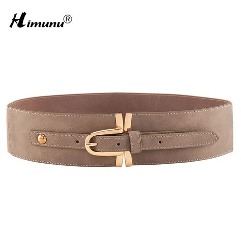 pin buckle leather belt for casual wide elastic