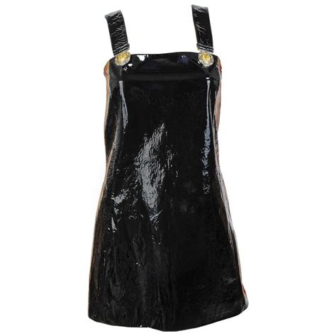 new versace versus black patent leather mini dress at 1stdibs