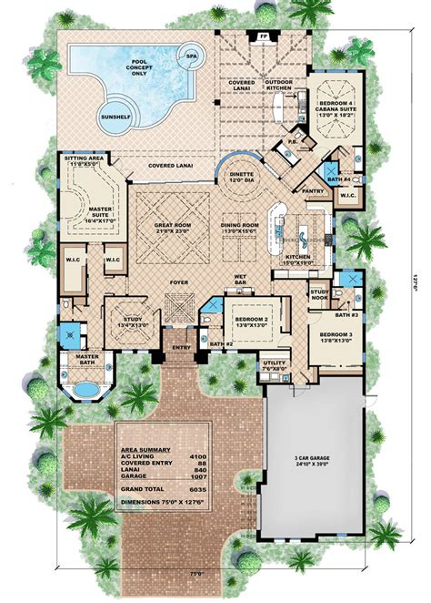 mediterranean style house plan 4 beds 4 5 baths 6035 sq