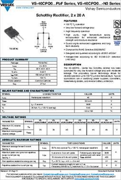 schottky diode specifications 40cpq035 datasheet specifications diode type schottky diode configuration