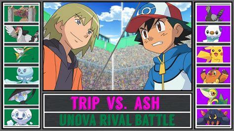 ash vs trip pok 233 mon sun moon unova rival battle