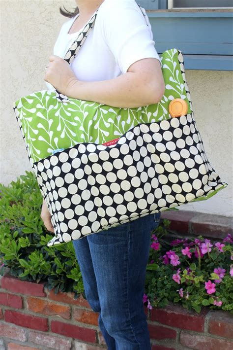 pattern for tote bag with pockets pottery barn inspired tote tutorial extra large with