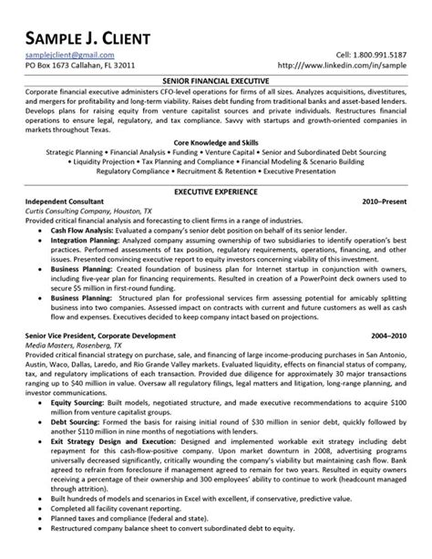 resume format for senior executive senior financial executive resume
