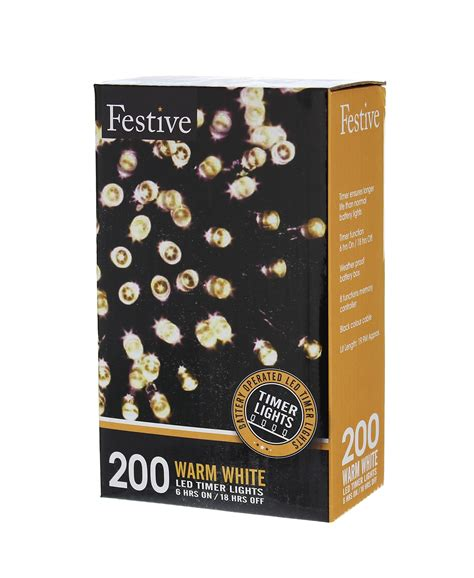 galleon festive string lights battery operated timer led warm white 200 bulbs