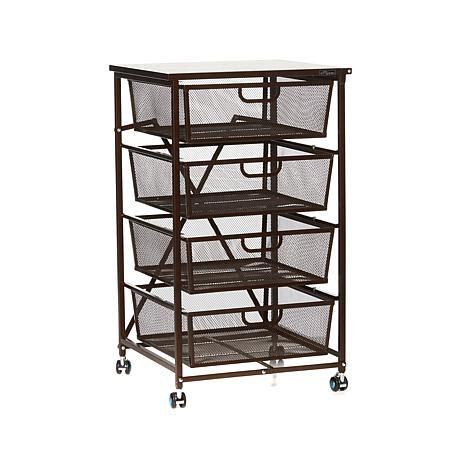 4 drawer kitchen cart origami 4 drawer kitchen cart with wood shelf 8090500 hsn
