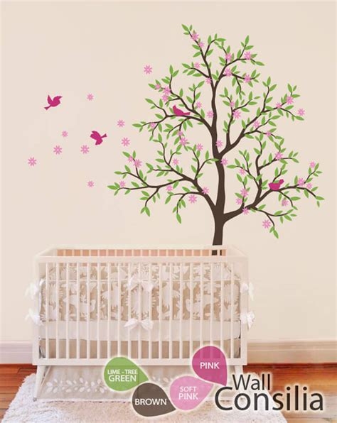 Brown Tree Wall Decal Nursery Brown Nursery Tree With Pink Birds Baby Wall Decals