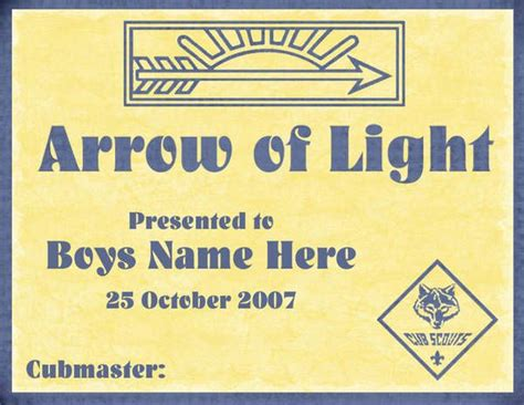 arrow of light certificate template 1000 images about arrow of light ceremonies cub scouts