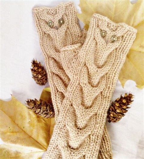 owl oatmeal long hand knit cable pattern fingerless gloves 16 best mitaines hibou images on pinterest fingerless
