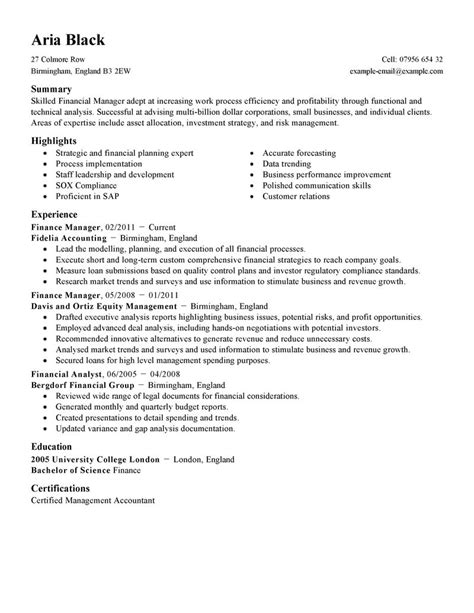 finance manager resume exles best finance manager resume exle livecareer