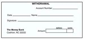 withdrawal slip template money basics managing a checking account