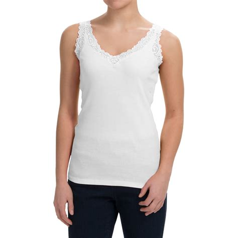 Lace Trim V Neck Tank Top august silk lace trim tank top for