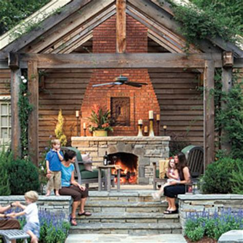 southern living fireplaces raised patio