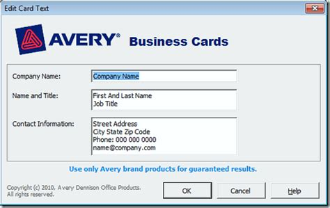 Avery Business Card Templates Business Card Template Word 2010