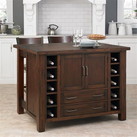 kitchen island and bar home styles cabin creek kitchen island with breakfast bar and two stools by oj commerce 5410 948
