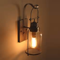 Lighting Wall Sconces Industrial Loft Rust Metal Lantern Single Wall Sconce With Clear Glass Indoor Sconces Wall